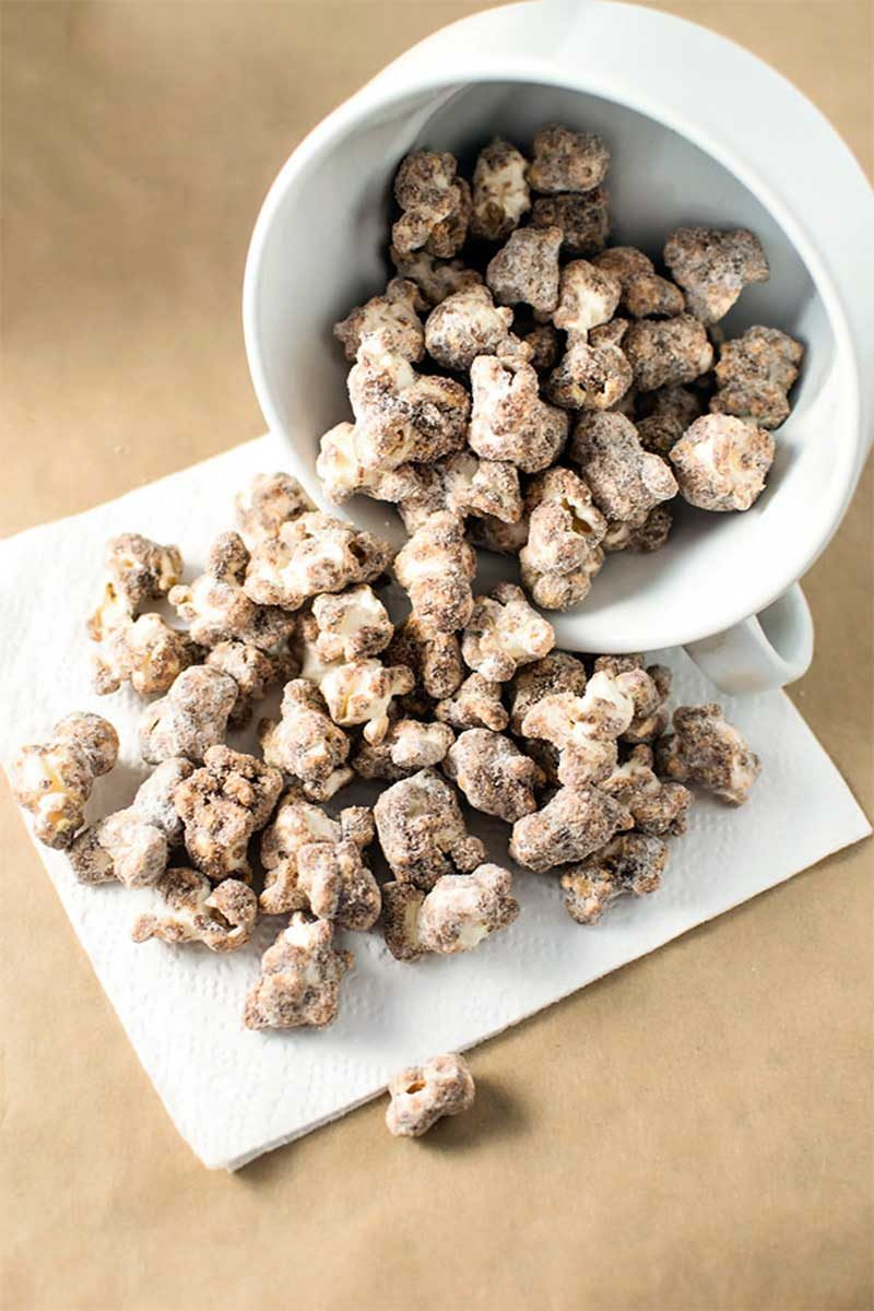 Churro Popcorn! Skip the deep fryer and make churro popcorn completely from scratch. It
